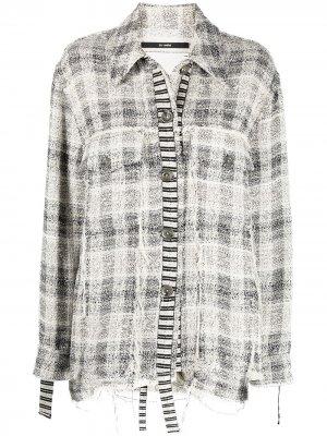 Клетчатая куртка-рубашка с эффектом потертости Song For The Mute. Цвет: белый