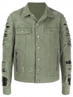 Джинсовая куртка с прорезями Balmain. Цвет: зеленый