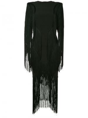 Платье с бахромой CAMILLA AND MARC. Цвет: черный