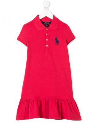 Платье-поло Ralph Lauren Kids. Цвет: красный