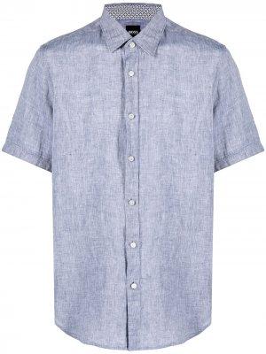 Однотонная рубашка с короткими рукавами Boss Hugo. Цвет: синий
