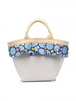 Пляжная сумка с оборками Simonetta. Цвет: белый