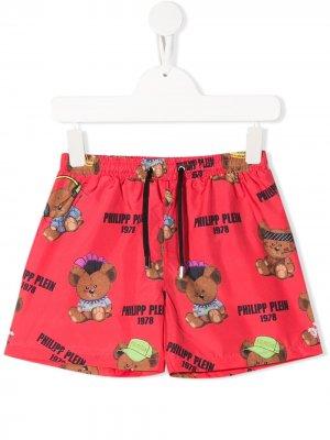 Плавки-шорты с логотипом Philipp Plein. Цвет: красный