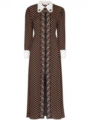 Платье в горох Chloé. Цвет: коричневый