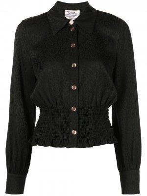 Укороченная рубашка Make с леопардовым принтом Baum Und Pferdgarten. Цвет: черный