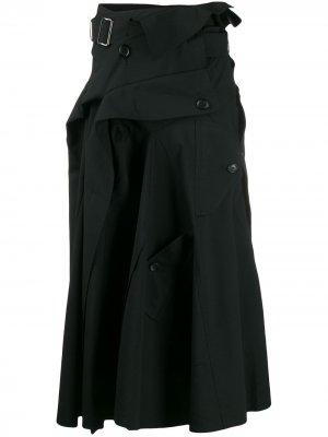 Юбка в стиле тренча Junya Watanabe. Цвет: черный