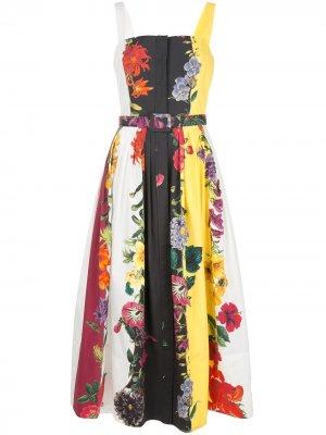 Платье с поясом и цветочным принтом Oscar de la Renta. Цвет: белый