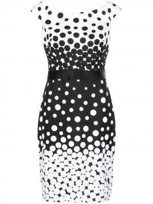 Приталенное платье миди в мелкую точку Tadashi Shoji. Цвет: черный