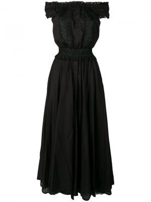 Платье макси со спущенными плечами Charo Ruiz. Цвет: черный