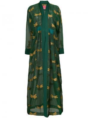 Пальто-халат с вышитыми стрекозами F.R.S For Restless Sleepers. Цвет: зеленый