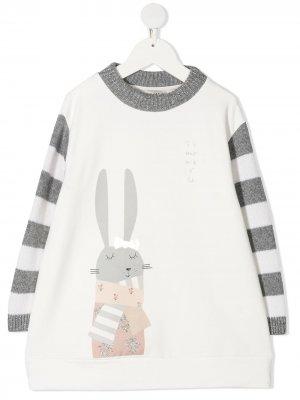 Платье-футболка с контрастными полосками Simonetta. Цвет: белый