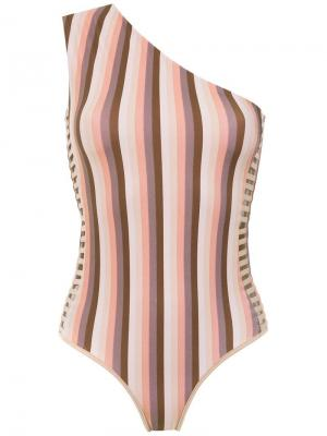 One shoulder swimsuit Amir Slama. Цвет: коричневый