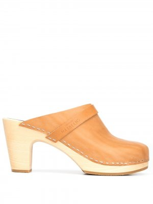 Клоги на высоком каблуке Swedish Hasbeens. Цвет: коричневый