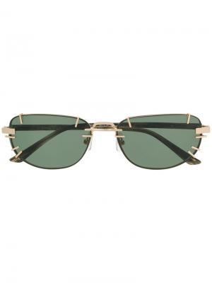 Солнцезащитные очки в прямоугольной оправе Linda Farrow. Цвет: коричневый