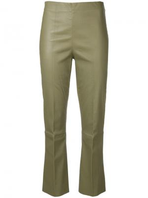 Florentina stretch-fit leather trousers By Malene Birger. Цвет: коричневый