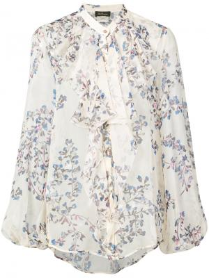 Блузка с цветочным рисунком Les Copains. Цвет: белый