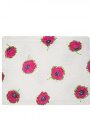 Набор из двух салфеток под приборы с цветочным принтом La Doublej. Цвет: белый