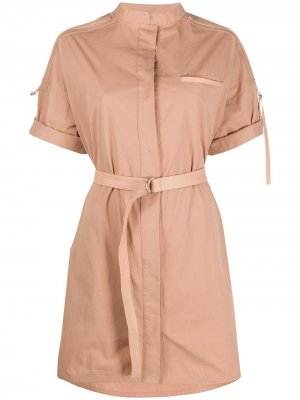 Платье мини с поясом Yves Salomon. Цвет: нейтральные цвета