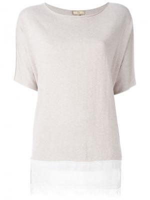 Блузка с кружевным подолом Fay. Цвет: нейтральные цвета