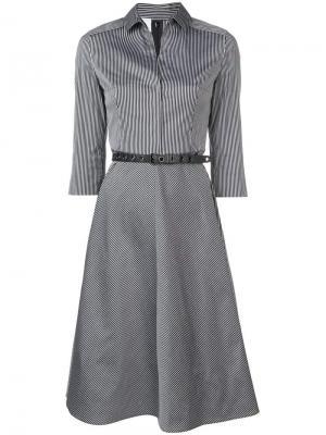 Расклешенное платье миди в полоску Akris Punto. Цвет: черный