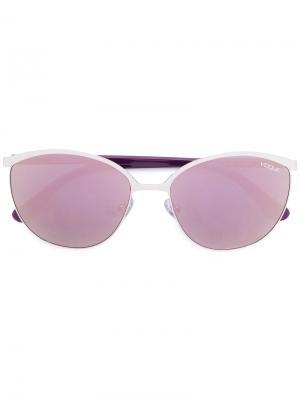 Солнцезащитные очки в половинчатой оправе Vogue Eyewear. Цвет: металлик
