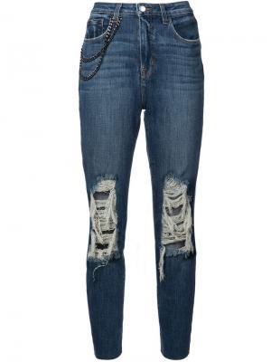 Прямые джинсы с завышенной талией Luna L'agence. Цвет: синий