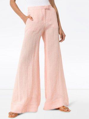 Широкие брюки средней посадки Lisa Marie Fernandez. Цвет: розовый