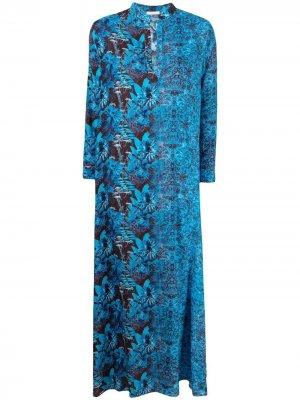 Платье-рубашка в двух тонах 813. Цвет: синий