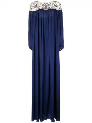 Платье-туника Marchesa. Цвет: синий