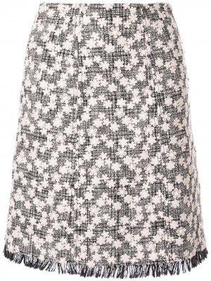 Твидовая юбка миди с цветочной аппликацией Giambattista Valli. Цвет: черный