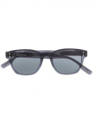 Солнцезащитные очки в круглой оправе с затемненными линзами Montblanc. Цвет: синий