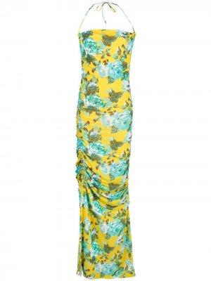 Платье со сборками и цветочным принтом Fisico. Цвет: желтый