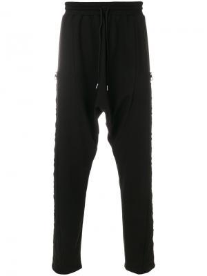 Спортивные брюки с заниженным шаговым швом Dirk Bikkembergs. Цвет: черный