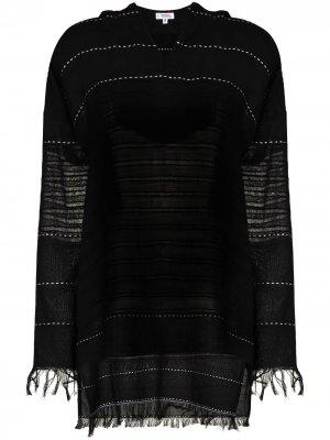 Платье мини Tikuri с капюшоном и бахромой lemlem. Цвет: черный