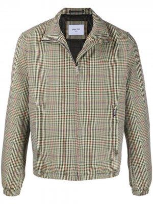 Клетчатая куртка с воротником-воронкой Paltò. Цвет: зеленый