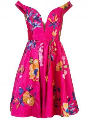 Коктейльное платье с открытыми плечами Marchesa. Цвет: розовый