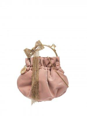 Мини-сумка Barbie с бантом из кристаллов Rosantica. Цвет: розовый