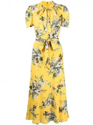 Платье миди Elmer с цветочным принтом Erdem. Цвет: желтый