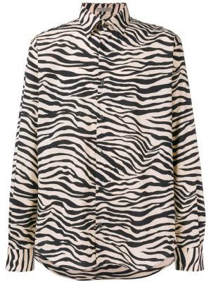 Рубашка с рисунком под зебру Bottega Veneta. Цвет: нейтральные цвета