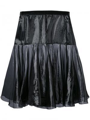Расклешенная многослойная юбка Krizia Pre-Owned. Цвет: черный