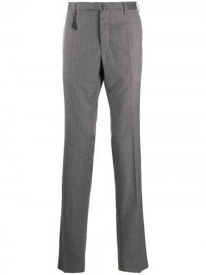 Классические брюки кроя слим Incotex. Цвет: серый