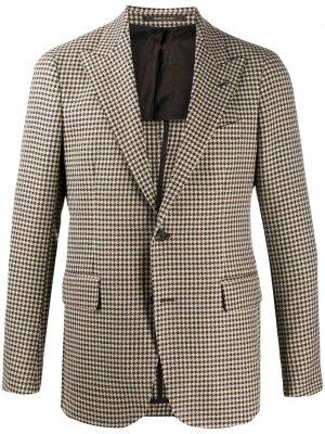 Однобортный пиджак в клетку Tagliatore. Цвет: коричневый