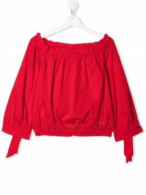 Блузка со сборками Pinko Kids. Цвет: красный