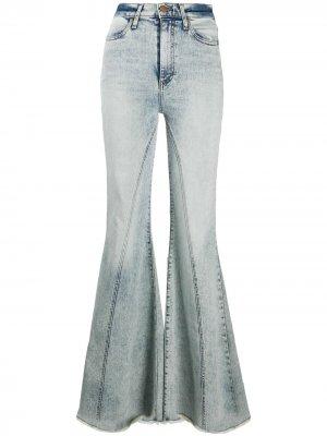 Расклешенные джинсы Beautiful Seamed с завышенной талией Alice+Olivia. Цвет: синий