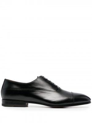 Оксфорды на шнуровке Santoni. Цвет: черный