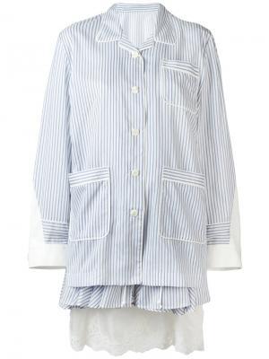 Многослойное платье в пижамном стиле Sacai. Цвет: синий