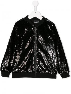 Куртка-бомбер с пайетками и логотипом Diadora Junior. Цвет: черный