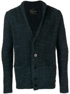 V-neck cardigan Roberto Collina. Цвет: синий