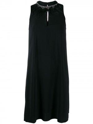 Платье с отделкой на воротнике TWINSET. Цвет: черный