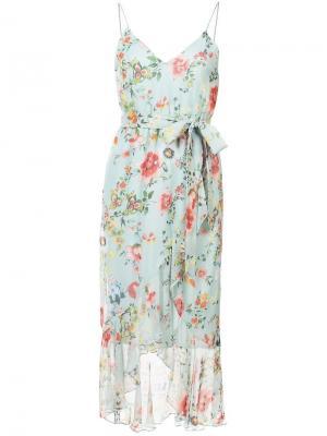 Миди платье с цветочным принтом Alice+Olivia. Цвет: синий